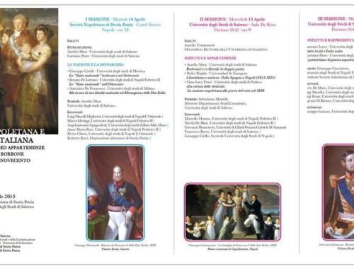 NAZIONE NAPOLETANA E NAZIONE ITALIANA. Convegno di studi 14-15 aprile Napoli-Fisciano
