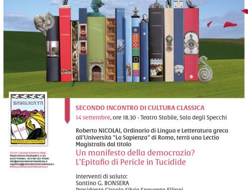 """LECTIO MAGISTRALIS DI ROBERTO NICOLAI DAL TITOLO """"UN MANIFESTO DELLA DEMOCRAZIA? L'EPITAFIO DI PERICLE IN TUCIDIDE"""""""