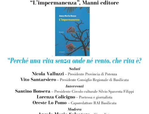 """PRESENTAZIONE DEL ROMANZO DI ANNA MARIA BASSO """"L'IMPERMANENZA"""" MANNI EDITORE"""