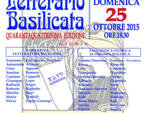 CERIMONIA DI PREMIAZIONE XLIV PREMIO LETTERARIO BASILICATA – 25 OTTOBRE TEATRO STABILE
